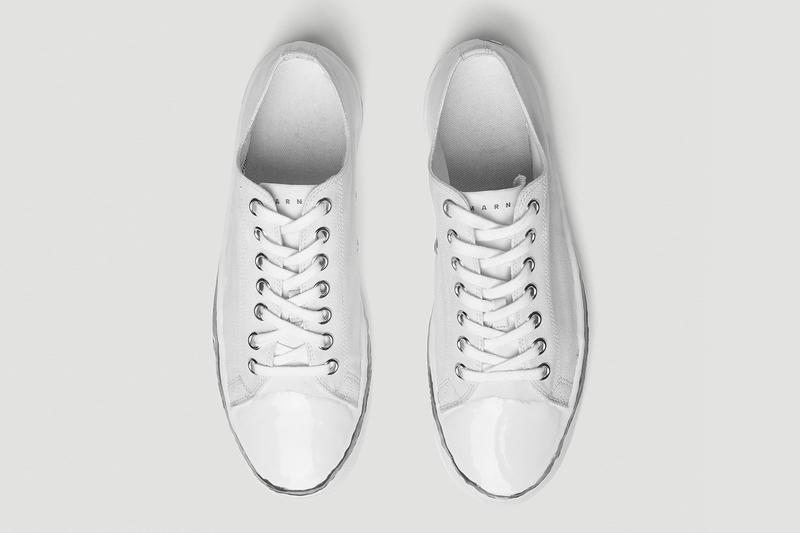 Marni Canvas Sneakers Low Top White lace ups menswear rubber toe cap drop