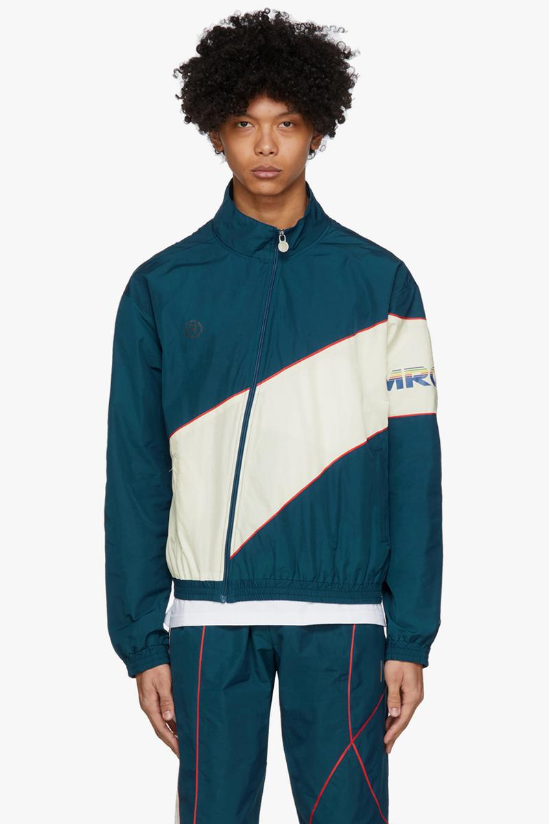 ssense exclusive martine rose capsule collection pink blue twist track jacket track pants black peace print t shirt cycling shorts shirt