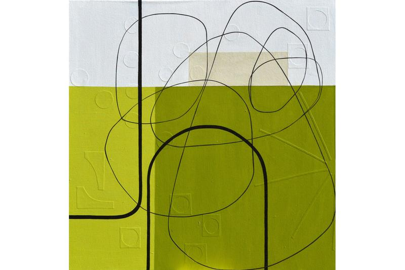 Maura Segal OEN Multilayered Abstract Works Paper Acrylic Paint Strips Geometric Squares Circles Texture Process Line