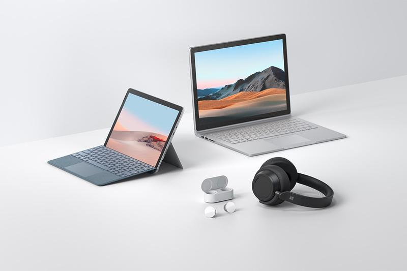 Microsoft Surface Updates Go 2 Book 3 Headphones Earbuds accessories dock keyboard mouse laptop computer