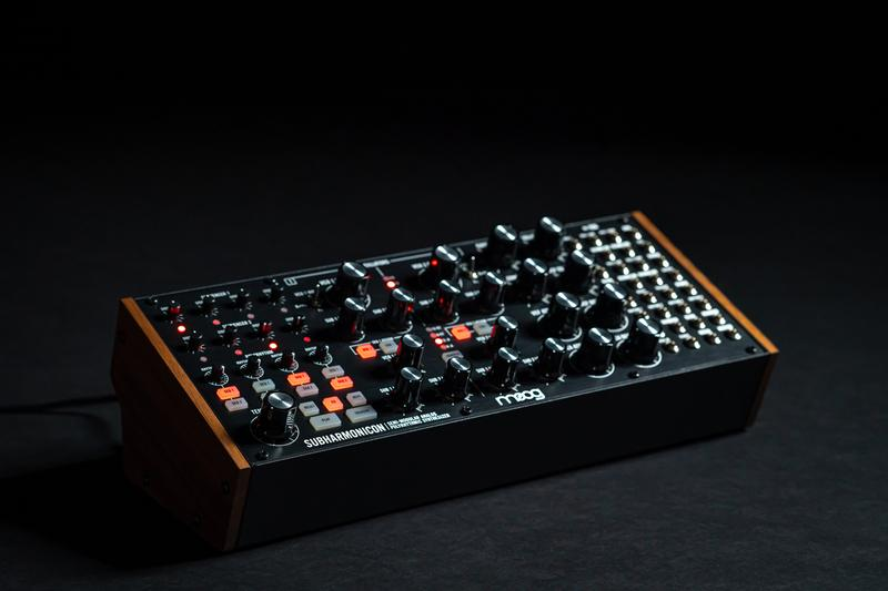 Moog Subharmonicon Analog Synthesizer Release controller subharmonically derived synthesis and polyrhythmic patterns 4-step sequencers production gear