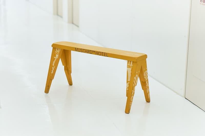 Mustard Hotel Shibuya M&M Furniture and Apparel Collaboration Bench Circle Stool Key Ring Wood Tray Work Shirt Yellow Blue