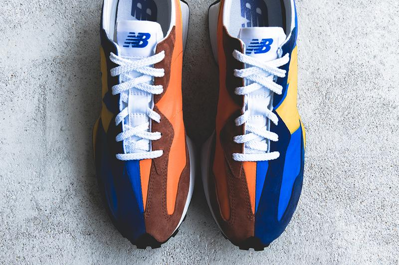 new balance 327 grey white blue orange split 1970s closer look buy cop purchase release information details