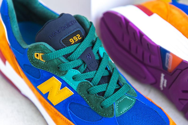 new balance 992 made in usa multi color orange blue green teal yellow red white fuchsia release date info photos price M992MC hbx store list