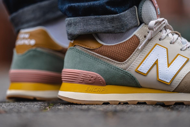 legumbres Compuesto cuero  New Balance Drops 574 Sneaker in Brown/Beige Colorway | HYPEBEAST