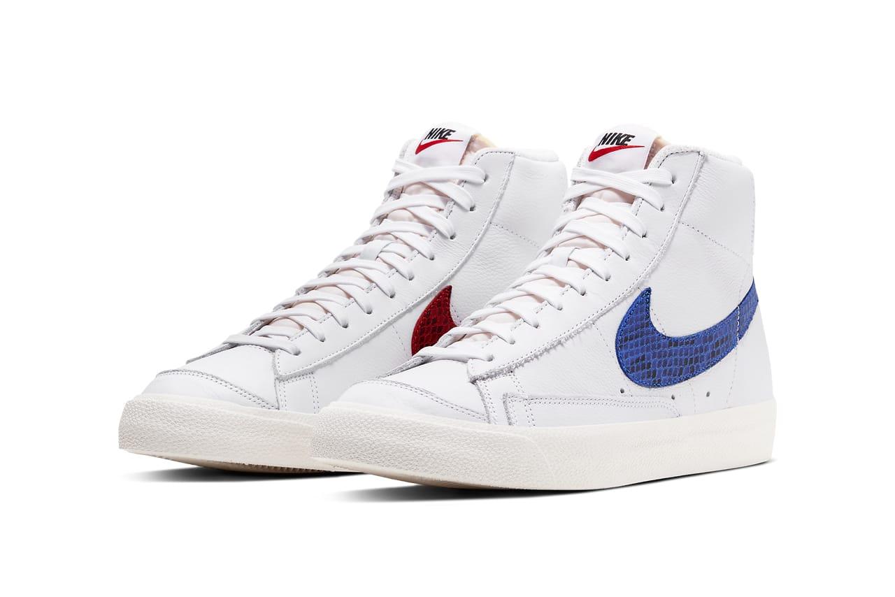 nike blazer low 3d white blue red