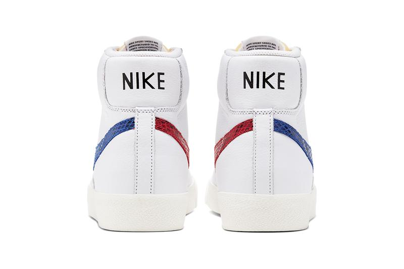 nike sportswear blazer mid 77 vintage sky force 3 4 white red blue snakeskin swoosh CW7073 CW7074 100 official release date info photos price store list