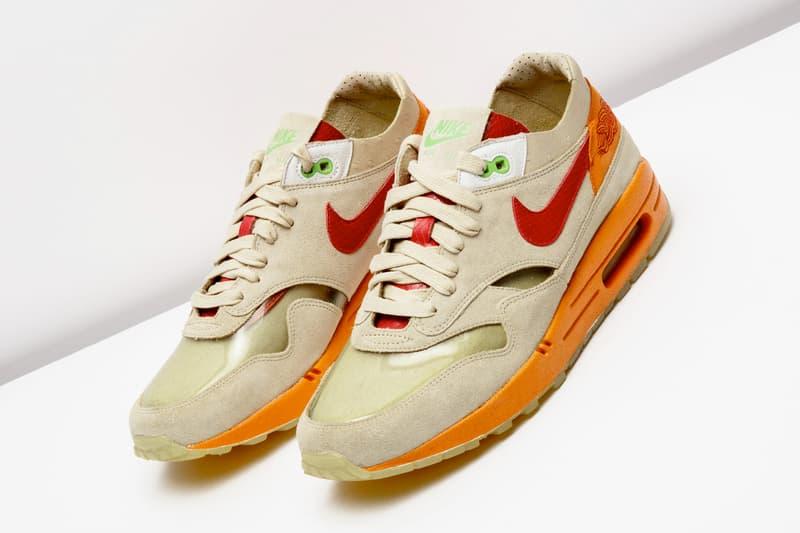 "Nike X CLOT Air Max 1 ""Kiss of Death"" Re-Release Info 2006 sneaker am1 style code: 313227-161 Net/Deep Red-Orange Blaze colorway MC Yan"