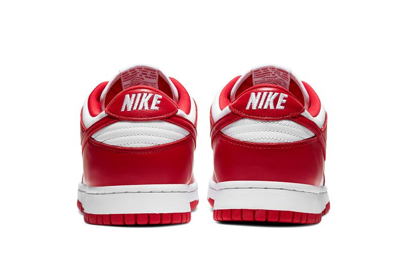 nike dunk low sportswear be true to your school university red white CU1727 100 official release date info photos price store list saint johns brazil champ colors team tones