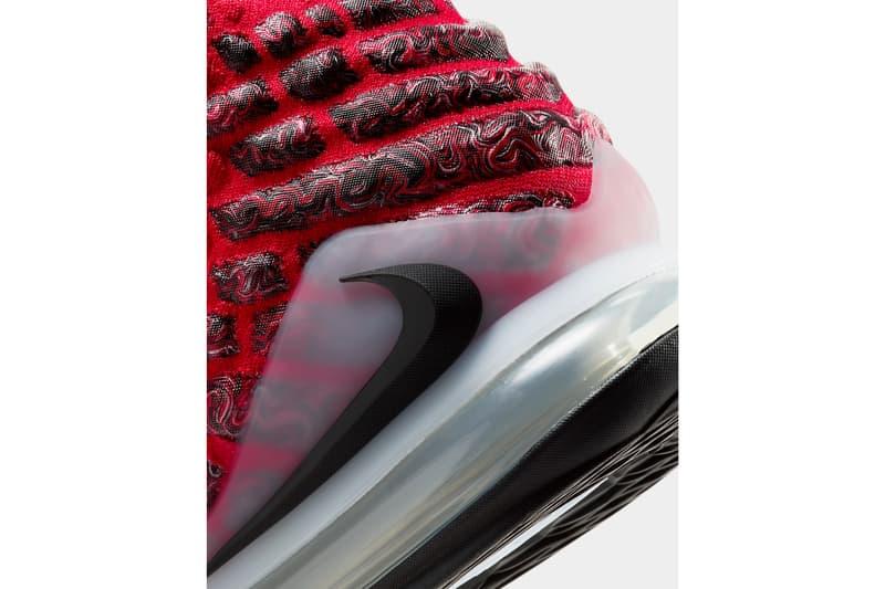 nike lebron 17 air more uptempo scottie pippen james university red black white BQ3177 601 release date info photos price