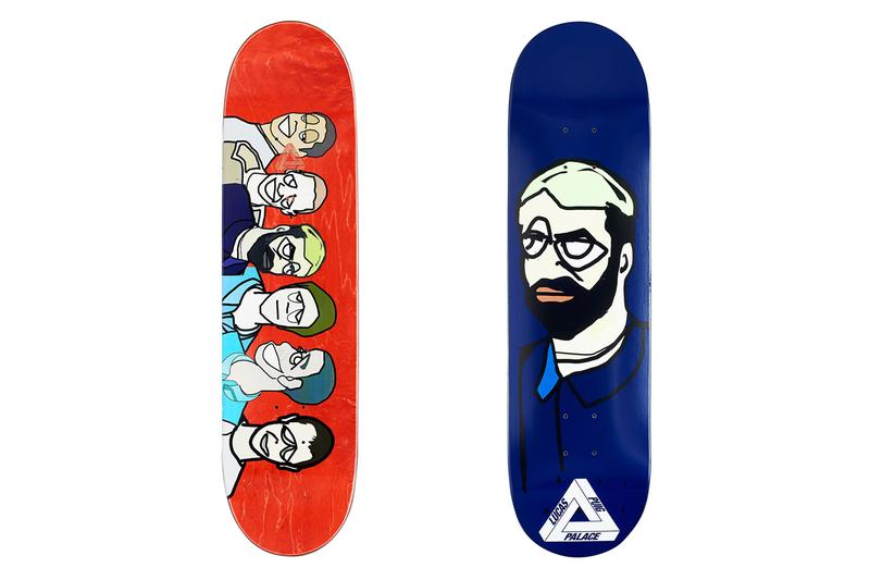 Palace Summer 2020 Skate Decks skateboarding team caricatures Jamal Smith Benny Fairfax Danny Brady Chewy Cannon Lucas Puig Lucien Clarke Rory Milanes tri ferg shock absorber designs