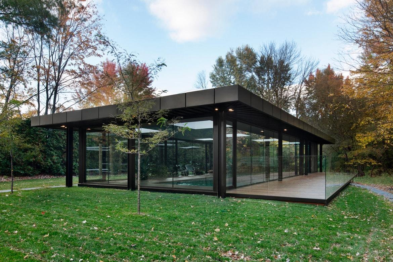 Philip Johnson Glass House maurice martel architecte glass pool house info | hypebeast