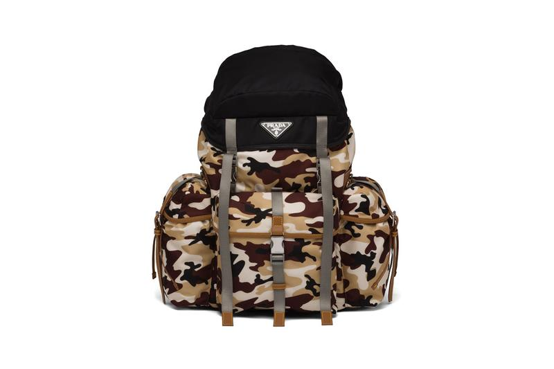 Prada Nylon Camouflage Print Backpack Release Saffiano Leather Black Brown Beige White Buckles Accessory