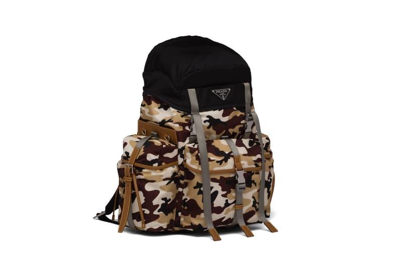 Prada Zaino in nylon stampa camouflage stampa zaino in pelle saffiano nero marrone beige bianco fibbie accessorio