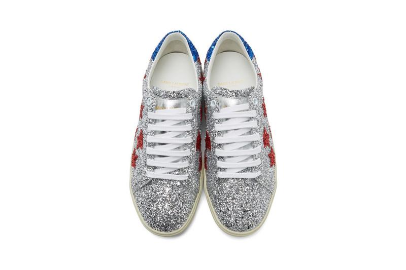 Saint Laurent Silver Glitter Court Classic Sneakers Red Blue White Silver-Tone Stars Rubber Leather Gold Branding Padded Tongue