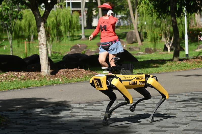 Boston Dynamics Robot Dog spot Enforces Self social Distancing parks singapore covid19 covid 19 corona coronavirus