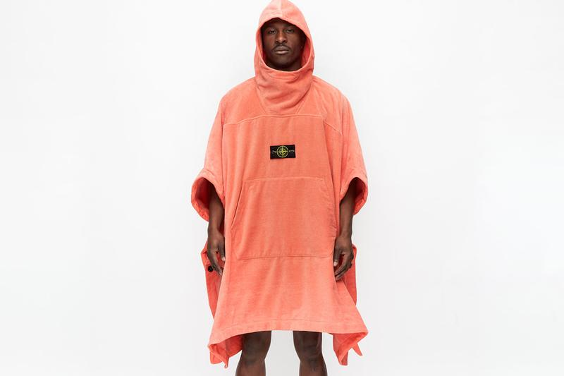 Stone Island Spring/Summer 2020 Bathrobe Cape ss20 garment dye terrycloth poncho pullover coat jacket hooded ss20 beach towel