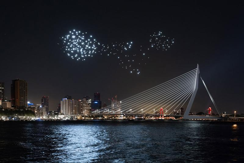 Studio Drift Drone Performance in Rotterdam Freedom Health River Maas Netherlands Art Installation Lights Bird Flight Patterns