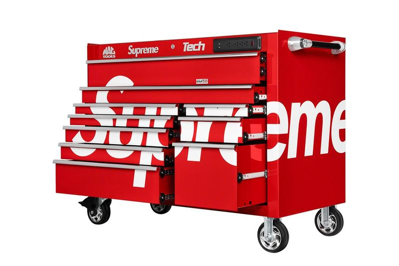 Supreme x Mac Tools Workstation Release Date & Price Red Mechanics Workbench Red Cabinet