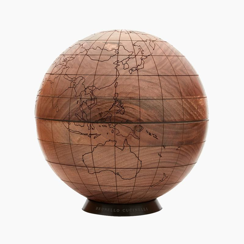 Brunello Cucinelli Engraved Walnut-Wood Globe Release Where to buy Price 2020
