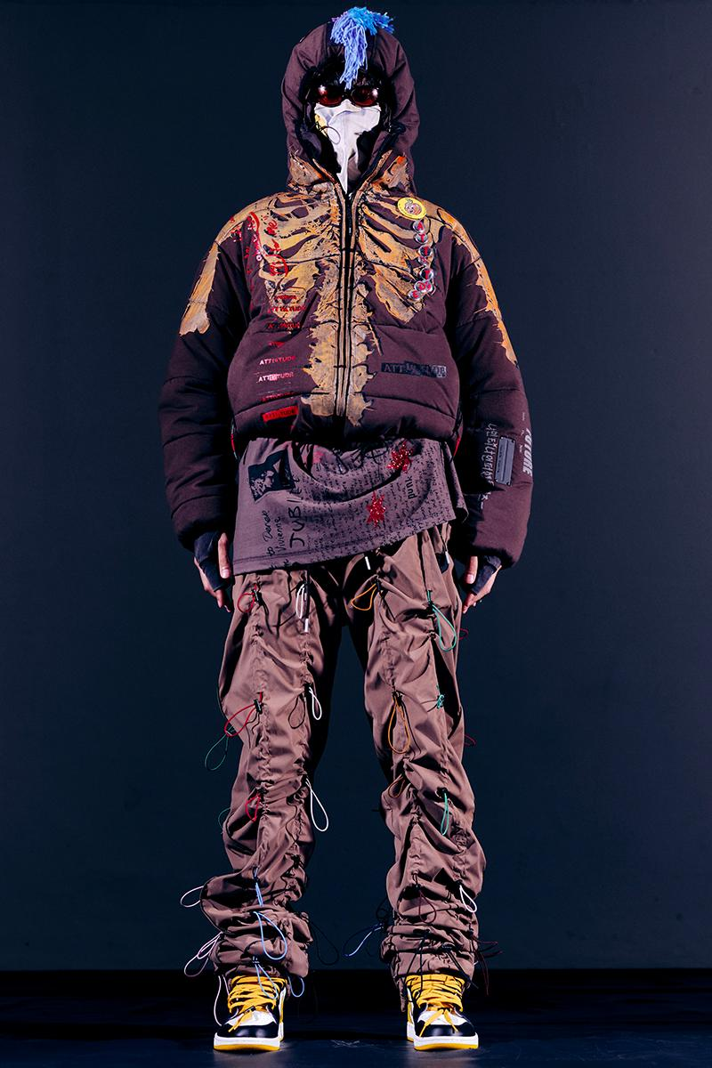 """99%IS- """"ATT1&TUDE"""" 15th Collection Lookbook diy maximalism Punk riot gear gobchang pants down puffer jackets glow in the dark reflective inks screenprint bajowoo south korean brand"""