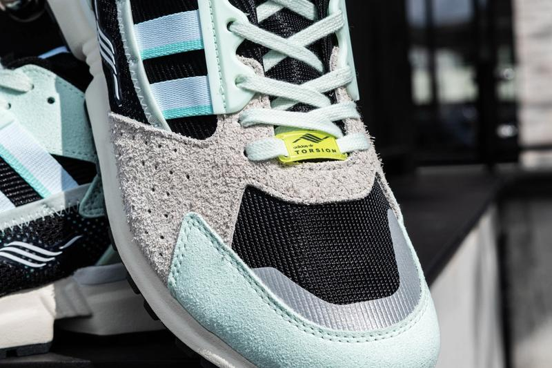 "adidas Originals ZX 10000 C ""Dash Green"" DSHGRN/CLAQUA/CBLACK Release Information Closer Look Footwear Three Stripes Torsion Sneaker OG Retro Chunky Jacques Chassaing Mint Green"