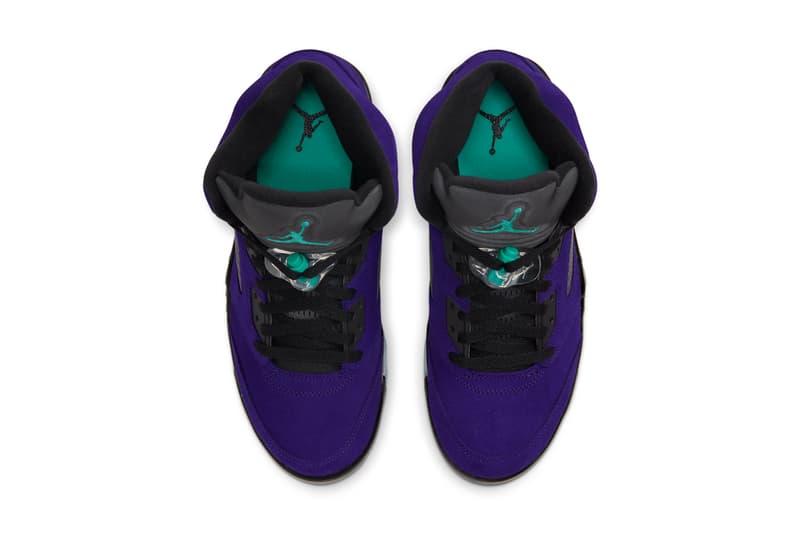 air jordan brand 5 purple alternate grape ice black clear new emerald aqua 136027 500 official release date info photos price store list buying guide