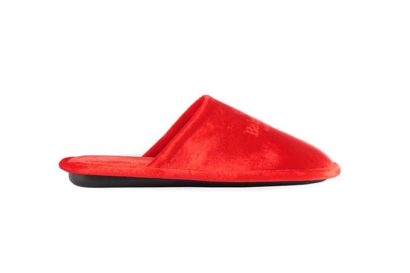 Balenciaga Embroidered Red Velvet House Slipper Release footwear sneakers kicks luxury Hugh Hefner