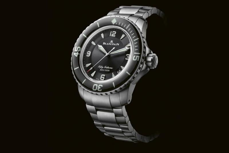 blancpain fifty fathoms titanium bracelet proprietary patent links automatique grande date