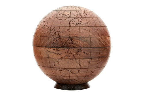 Brunello Cucinelli Crafts an Engraved Globe Made of Solid Walnut Wood