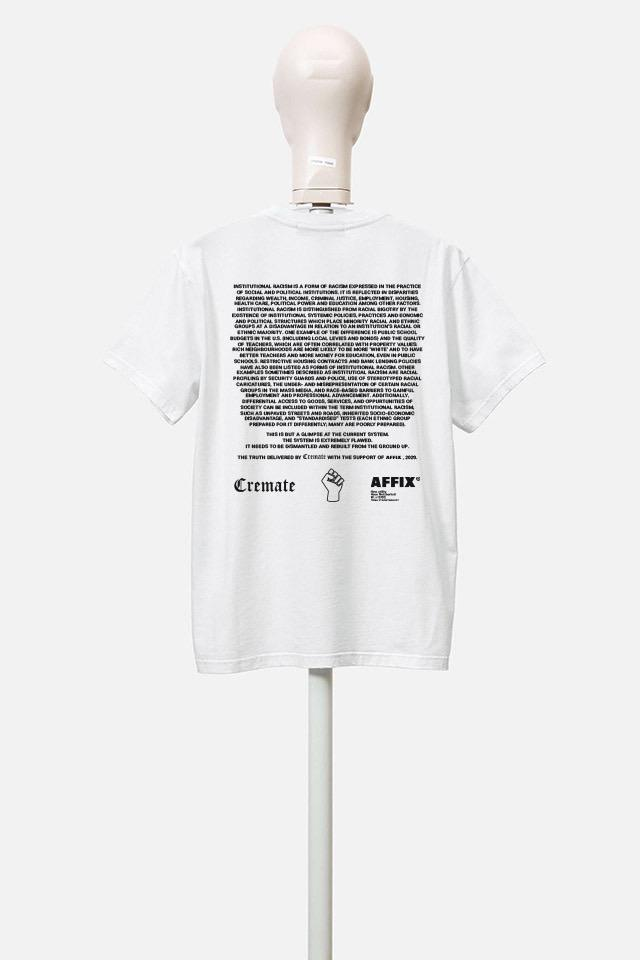 "Cremate x AFFIX ""Loaded Dice"" T-Shirt #BlackLivesMatter systematic racism charity tee top black white Stephen Lawrence Charitable Trust 100 per cent profits Black Lives Matter UK"
