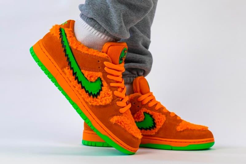 Grateful Dead Nike SB Dunk Low Orange Bear First Look CJ5378-800 Release Info Opti Orange Green Fury