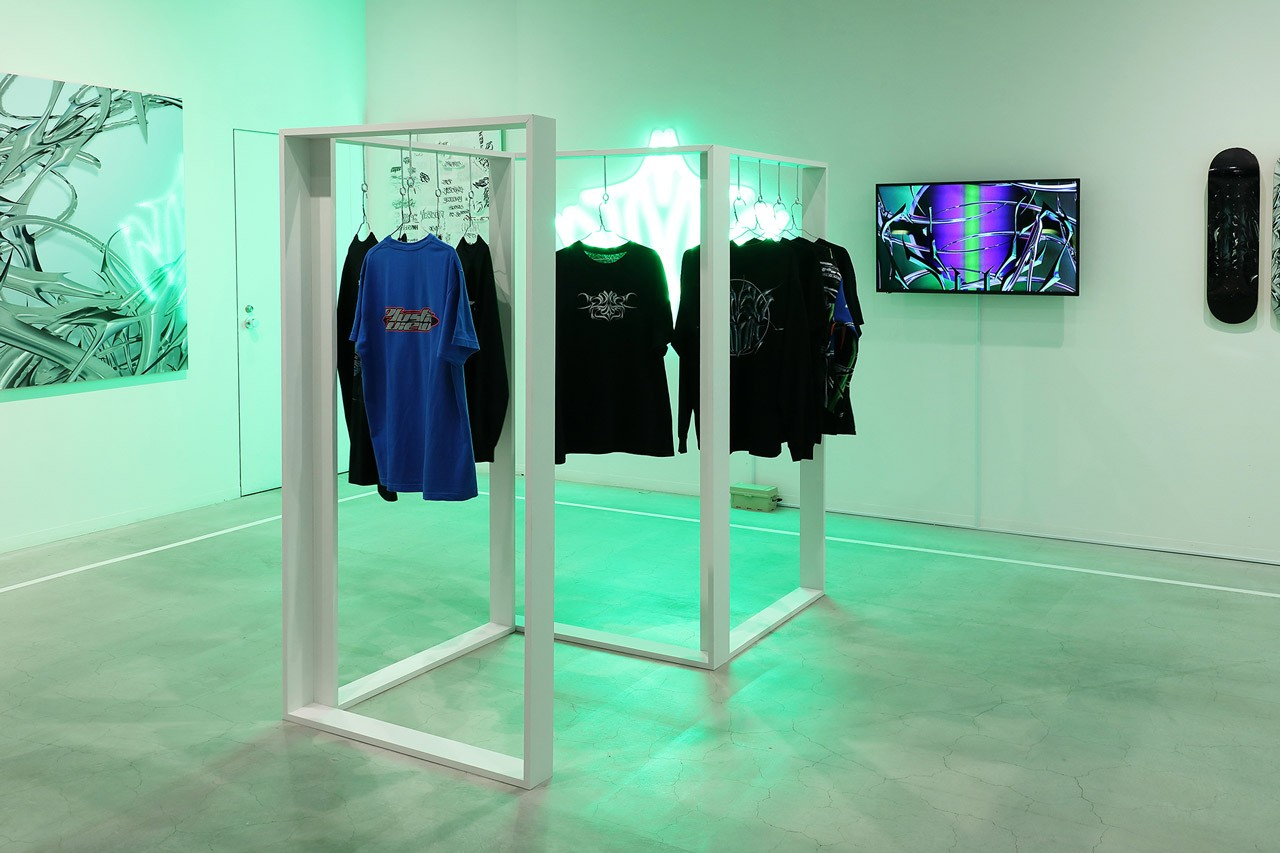 GUCCIMAZE Solo Exhibition Diesel Art Gallery Lettering Typography Metallic Three Dimension Sculptures T-Shirts Skate Decks