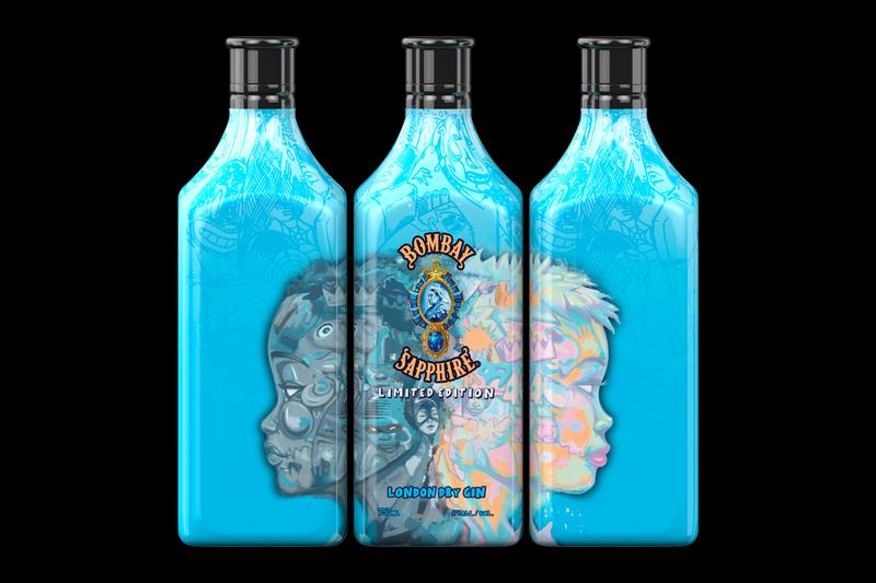 Hebru Brantley Designs Limited Edition Bombay Sapphire Gin Bottle first ever proceeds charity black lives matter benefit alcohol artwork artist designer