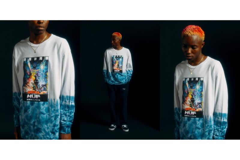 "HUF vs. Godzilla Collection Lookbook Release ""King of the Monsters"" Toho Studios Tokyo Collaboration T-shirts Long sleeves Medicom Toy Figurines Collared Shirts"