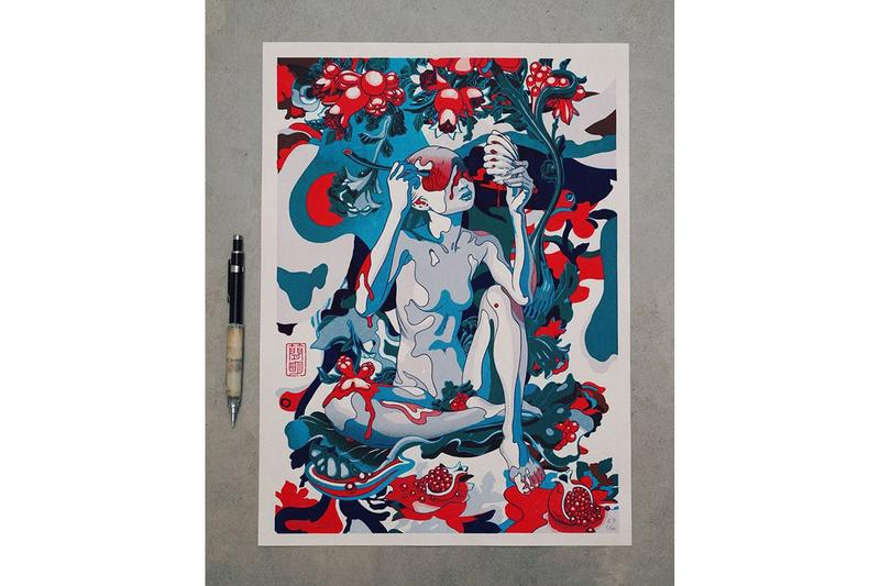 "James Jean Print Auction NAACP Legal Defense Fund 'Pomegranate' Woodcut Washi Paper ""Hosho-shi"" Living National Trrasure Ichibei Iwano"