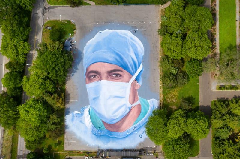 Jorge Rodriguez-Gerada Doctor Mural COVID-19 Corona Park Queens New York Dr. Ydelfonso Decoo Portrait 'Somos La Luz' 'We Are Light'