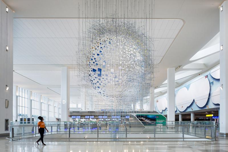 LaGuardia Airport Public Artworks Terminal B Andrew Cuomo Mosaics Sculptures Benches Glass New York City Photographs Jeppe Hein Sabine Hornig Laura Owens Sarah Sze
