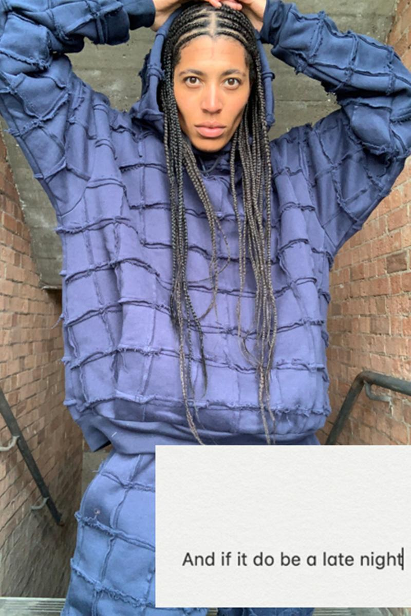 ln-cc martine rose late night conscious campaign sustainable collection release information buy cop purchase london fashion week virtual details kai isaiah jamal tracksuit hoodie sweatpants shirt patchwork