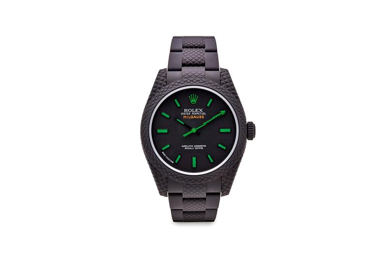 MAD Paris Rolex Milgauss Black Dial Blue Coating Datejust 36 With Roman Dial Watches Custom Timepieces Dover Street Market London skeletonisation green lightning bolt reworked bussdown
