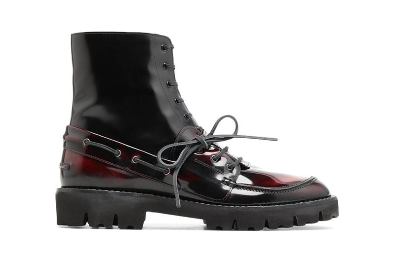 maison margiela spliced maroon leather boots release ss20 laceup