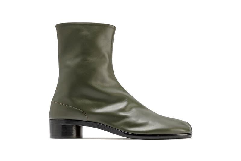 "Maison Margiela Tabi Leather Ankle Boots ""Deep Forest"" 100% Bovine Geometric Heel Mens Square Toe Split Stitch Avant Garde Minimalism High Fashion Luxury Shoes Footwear HBX HYPEBEAST"