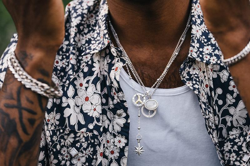 MAPLE Summer Editorial 2020 Jewelry Rings Necklaces Bracelets Closer Look Canadian Brand Luxury Streetwear North Vancouver Cuban Double Mariner Links Mother of Pearl Grace Jones