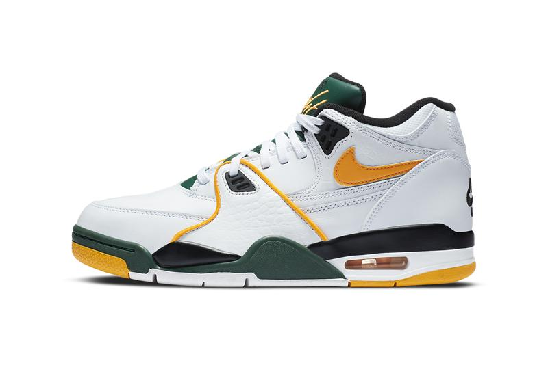 nike sportswear air flight 89 seattle supersonics white black forest green del sol yellow CN0050 100 official release date info photos price store list buying guide