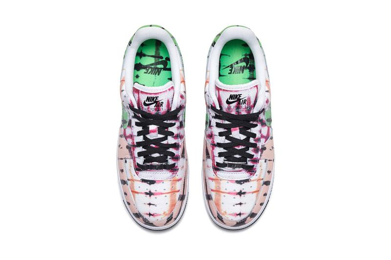 nike sportswear air force 1 low black tie dye womens white green peach official release date info photos price store list buying guide