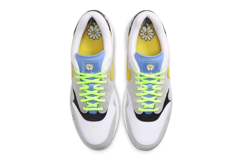 Nike Air Max 1 Speed Yellow white black ghost green menswear streetwear sneakers footwear shoes kicks trainers runners floral flowers dandilion CW6031 100