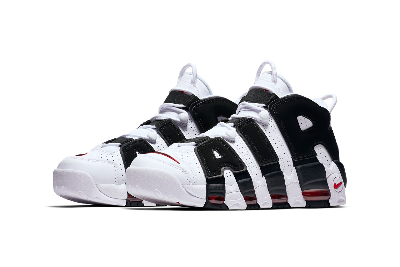 nike sportswear air more uptempo white black university red scottie pippen chicago bulls 414962 105 official release date info photos price store list buying guide