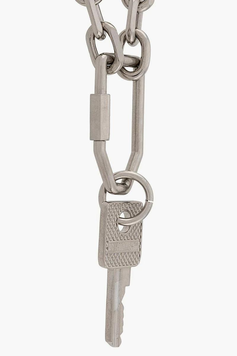 Off-White™ Silver-Tone Key Chain Necklace Release Info jewelry accessories drop date price virgil abloh