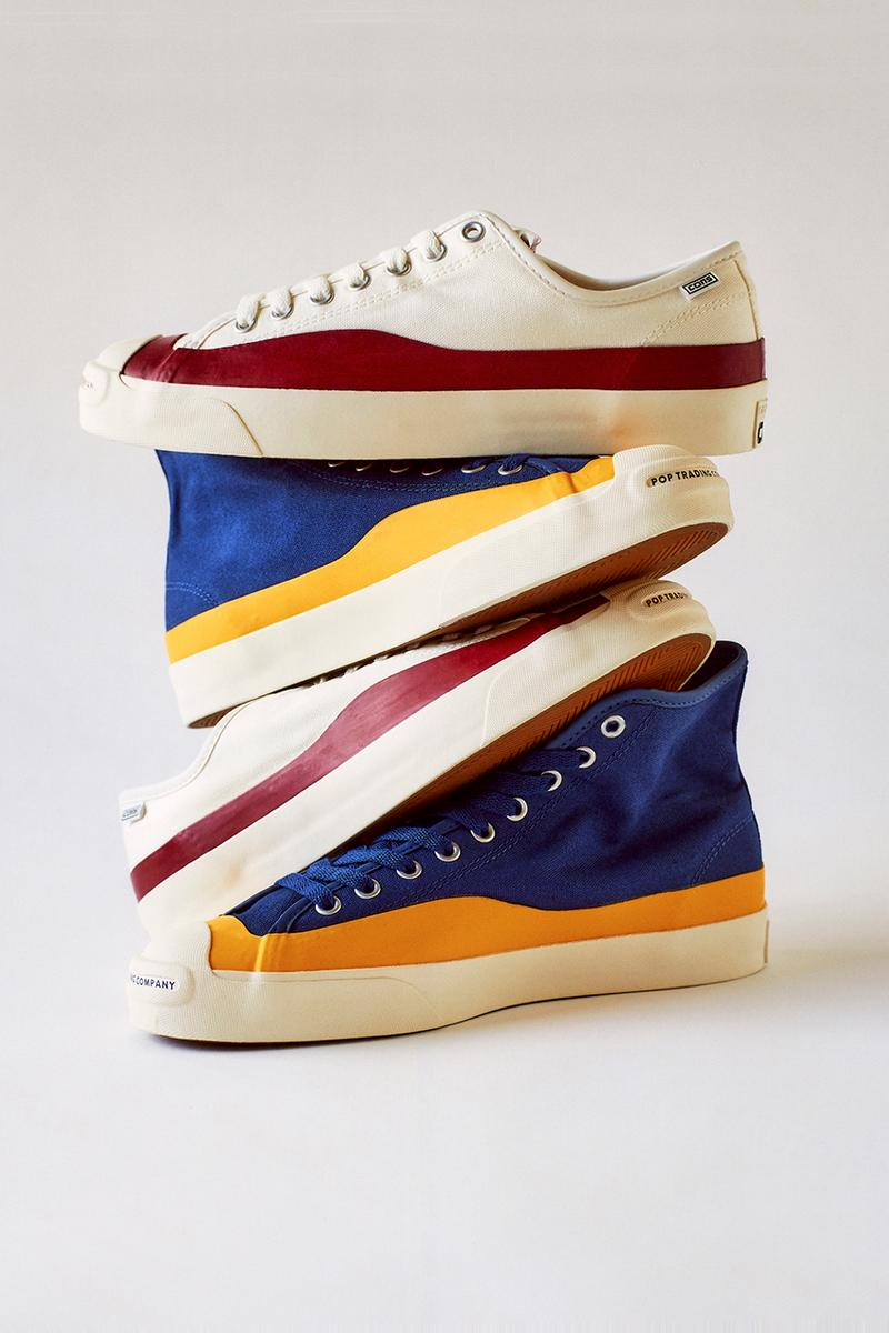 pop trading company converse cons jack purcell pro hi ox details release information skating amsterdam blue yellow egret white red buy cop purchase