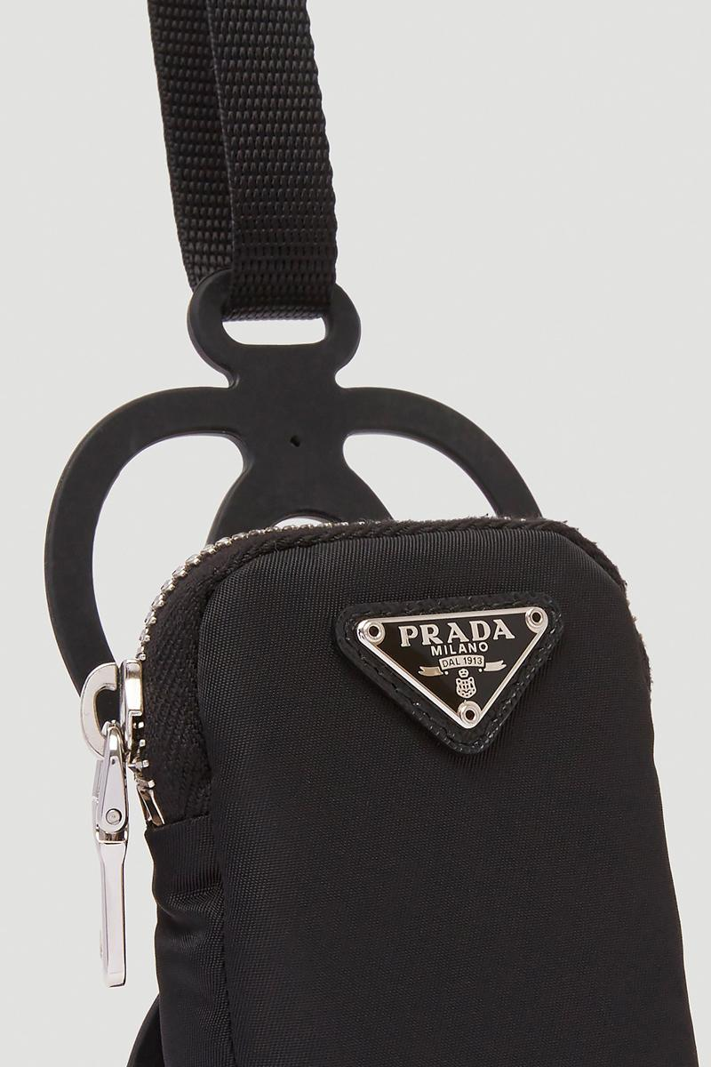 Prada Crossbody Bag Black Release ln cc nylon leather silver tone hardware